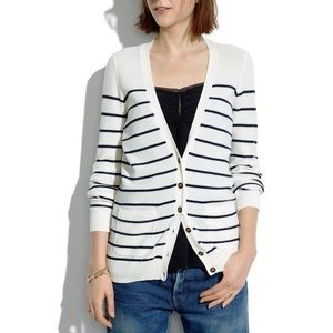 Madewell cardigan sweater navy and white Medium
